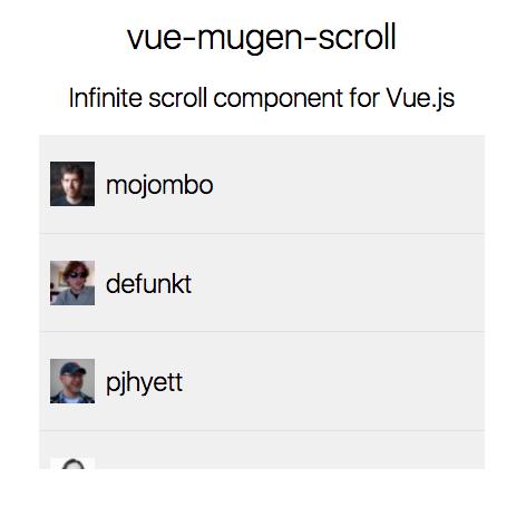 Vue Mugen Scroll - Made with Vue js