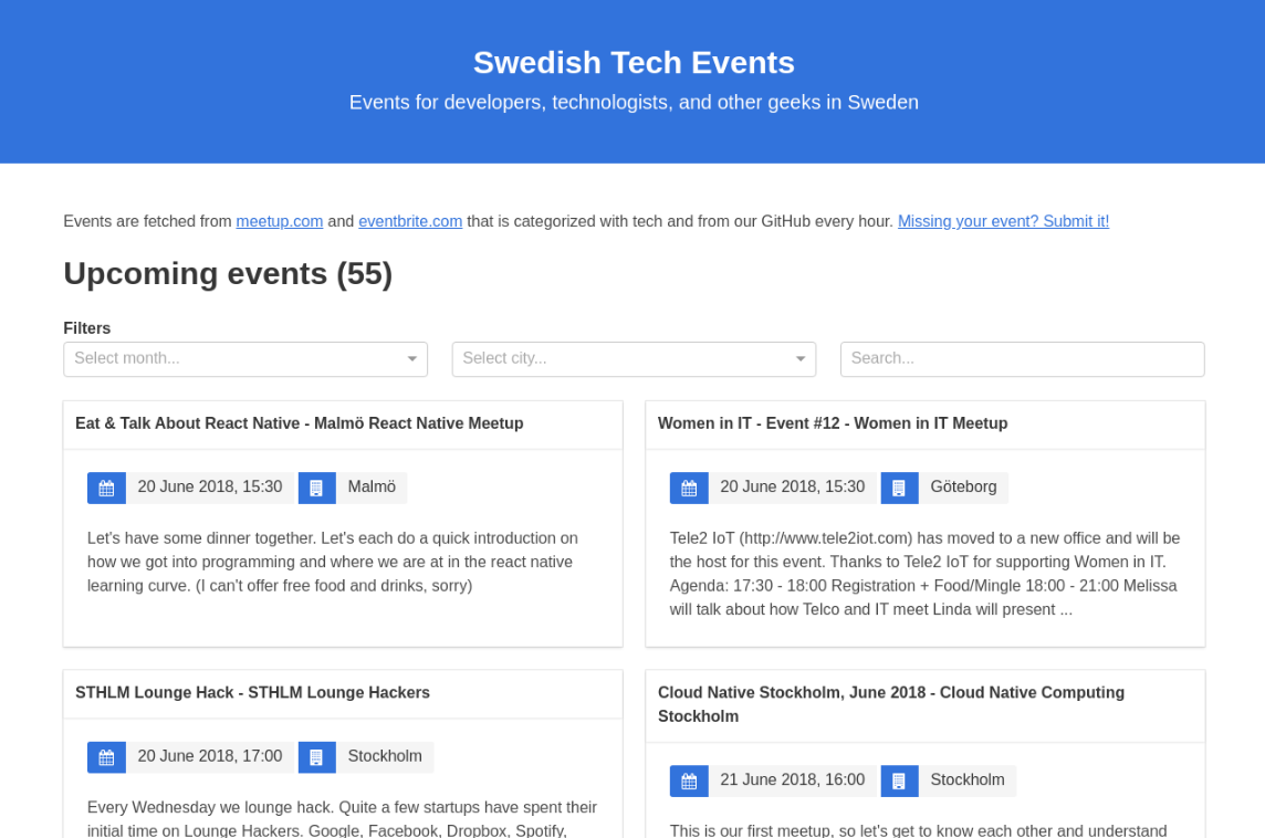 Swedish Tech Events - Made with React js