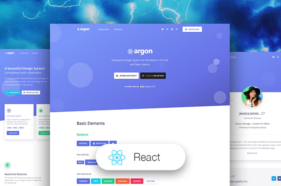 Argon Design System React Made With React Js
